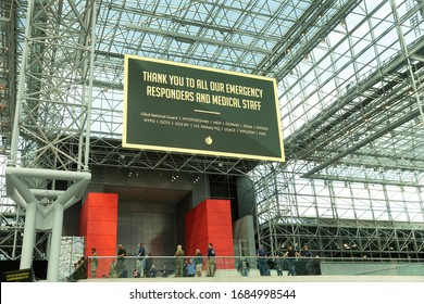New York, NY - March 27, 2020: Message of hope and encouragement displayed at Jacob Javits Center