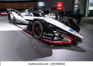 New York, NY - March 28, 2018: Nissan race car Formula E on display in Nissan pavilion at 2018 New York International Auto Show at Jacob Javits Center