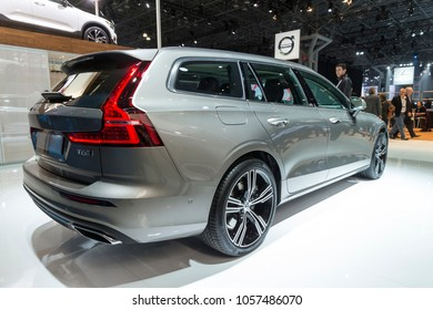 New York, NY - March 28, 2018: Volvo V60 T6 SUV 2019 on display at 2018 New York International Auto Show at Jacob Javits Center