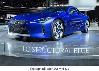 New York, NY - March 28, 2018: Lexus LC500 LC Structural Blue Coupe on display at 2018 New York International Auto Show at Jacob Javits Center