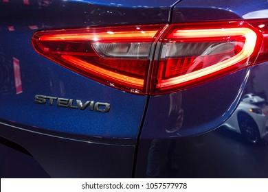 New York, NY - March 28, 2018: Alfa Romeo Stelvio on display at 2018 New York International Auto Show at Jacob Javits Center