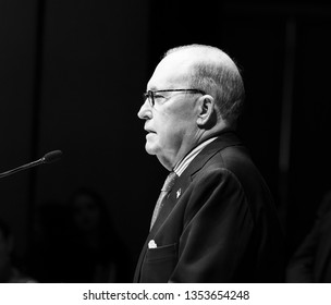 New York, NY - March 28, 2019: Director of the National Economic Council Larry Kudlow speaks during 7th Annual Champions of Jewish Values Gala at Carnegie Hall