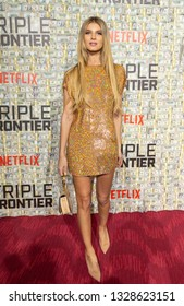 New York, NY - March 3, 2019: Ashley Haas wearing dress by Ashish attends Netflix Triple Frontier World Premiere at Jazz at Lincoln Center