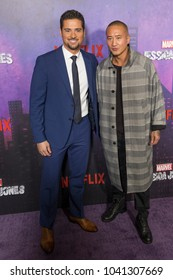 New York, NY - March 7, 2018: J. R. Ramirez and Terry Chen attends Marvel Jessica Jones Season 2 Premiere at AMC Loews Lincoln Square