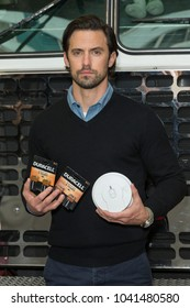 New York, NY - March 8, 2018: Actor Milo Ventimiglia (C) teams up with Duracell and the FDNY for Fire Safety at FDNY Engine 8/Ladder 2