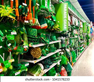 NEW YORK, NY: MARCH 8, 2018: Saint Patrick's Parade gear including Irish green hats, necklaces and headbands displayed in a party supply store.