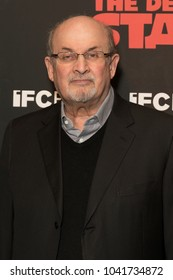 New York, NY - March 8, 2018: Salman Rushdie attends New York premiere of IFC Film Death of Stalin at AMC Lincoln Square