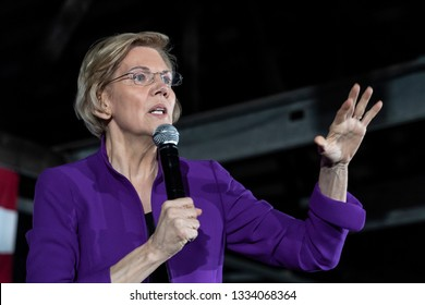 New York, NY - March 8, 2019: US Senator Elizabeth Warren Democrat speaks during campaign event at the Arc in the borough of Queens of New York City