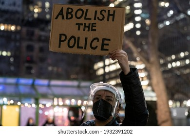 New York, NY - March 8, 2021: Protesters rally and march in Bryant Park on first day of trial of police officer Derek Chauvin accused of killing George Floyd