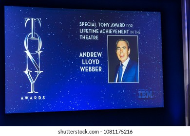 New York, NY - May 1, 2018: Lifetime Achievement Award Annoncement for Andrew Lloyd Webber during 2018 Tony Awards Nominations Announcement at New York Public Library for the Performing Arts