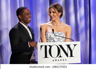 New York, NY - May 1, 2018: Leslie Odom Jr., Katharine McPhee speak onstage during 2018 Tony Awards Nominations Announcement at New York Public Library for the Performing Arts