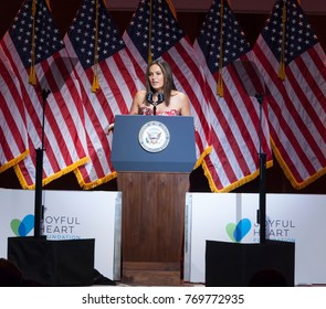 New York, NY - May 10, 2016: Mariska Hargitay speaks on stage during Joyful Heart Foundation honors Vice President Joe Biden at Joyful Revolution Gala at Lincoln Center