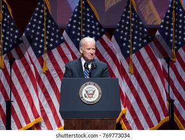 New York, NY - May 10, 2016: Joe Biden speaks on stage during Joyful Heart Foundation honors Vice President Joe Biden at Joyful Revolution Gala at Lincoln Center