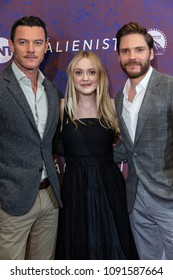 New York, NY - May 15, 2018: Luke Evans, Dakota Fanning, Daniel Bruhl attend Emmy for your consideration event for TNT The Alienist at 92nd street Y