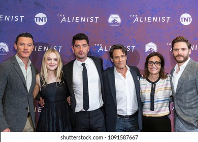 New York, NY - May 15, 2018: Luke Evans, Dakota Fanning, Jakob Verbruggen, Michael Kaplan, Sarah Aubrey, Daniel Bruhl attend Emmy for your consideration event for TNT The Alienist at 92nd street Y