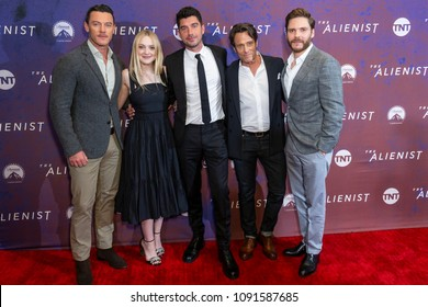 New York, NY - May 15, 2018: Luke Evans, Dakota Fanning, Jakob Verbruggen, Michael Kaplan, Daniel Bruhl attend Emmy for your consideration event for TNT The Alienist at 92nd street Y