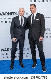 New York, NY - May 15, 2019: Anderson Cooper and Chris Cuomo attend WarnerMedia Upfront 2019 arrivals outside of The Theater at Madison Square Garden