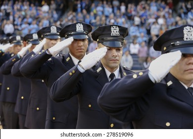 New York, NY - May 15, 2015:  NYPD Honor guards attend game between New York City Football Club and Chicago Fire FC at Yankee Stadium