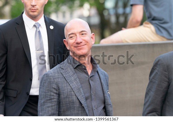 New York, NY - May 15, 2019: Jeff Bezos arrives at the Statue Of Liberty Museum Opening Celebration at Battery Park