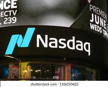 NEW YORK, NY – MAY 16, 2018: NASDAQ MarketSite location at Times Square. This is the commercial marketing presence of the NASDAQ stock market