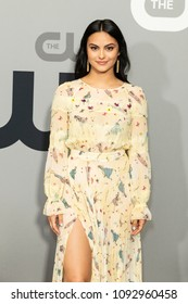 New York, NY - May 17, 2018: Camila Mendes wearing dress by Elizabetta Franchi attends 2018 CW network Upfront at London Hotel
