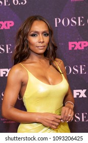 New York, NY - May 17, 2018: Janet Mock wearing dress by Christian Siriano attends FX Pose premiere at Hammerstein Ballroom