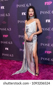 New York, NY - May 17, 2018: Indya Moore wearing dress by Christian Siriano attends FX Pose premiere at Hammerstein Ballroom