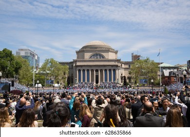 NEW YORK, NY - MAY 18: Graduates tossed grad caps on Columbia University Commencement Day on May 18, 2016. It is a private Ivy League research university in Upper Manhattan, New York City