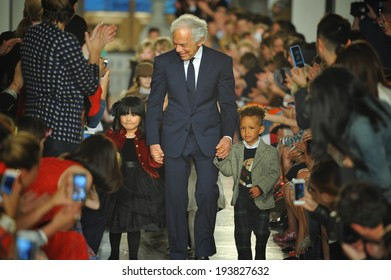 NEW YORK, NY - MAY 19: Designer Ralph Lauren walks the runway at the Ralph Lauren Fall 14 Children's Fashion Show in Support of Literacy at New York Public Library on May 19, 2014 in New York City.