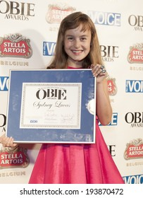 NEW YORK, NY - MAY 19, 2014: Award winner Sydney Lucas attends the 59th Annual Village Voice Obie awards at Webster Hall