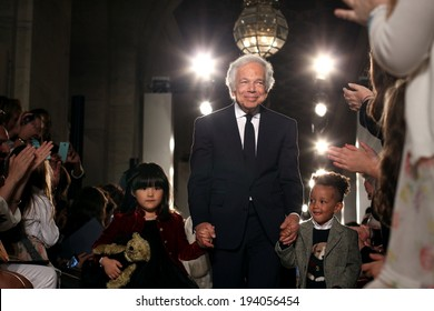 NEW YORK, NY - MAY 19: Designer Ralph Lauren and kids walk the runway at the Ralph Lauren Fall 14 Children's Fashion Show in Support of Literacy at New York Public Library on May 19, 2014 in NYC.