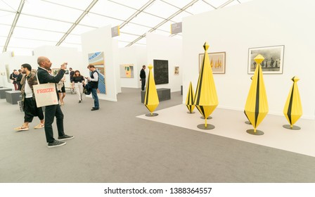 New York, NY - May 2, 2019: Atmosphere during the Frieze Art Fair 2019 VIP Press Preview at Randalls Island