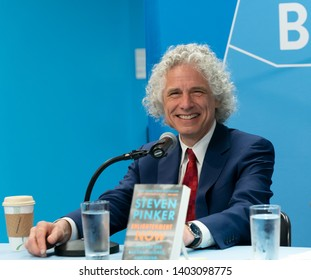 New York, NY - May 20, 2019: Author of Enlightenment Now Steven Pinker speaks at UN bookshop at United Nations Headquarters