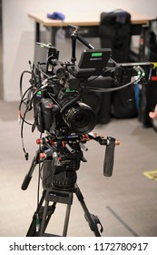 New York, NY; May 2018: A beautiful, fully built Canon C300 mk II rig on a tripod