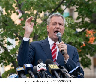 New York, NY - May 21, 2019: Mayor Bill de Blasio speaks at pro-choice rally for women rights organized by Planned Parenthood on Foley Square