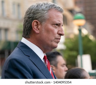 New York, NY - May 21, 2019: Mayor Bill de Blasio attends pro-choice rally for women rights organized by Planned Parenthood on Foley Square