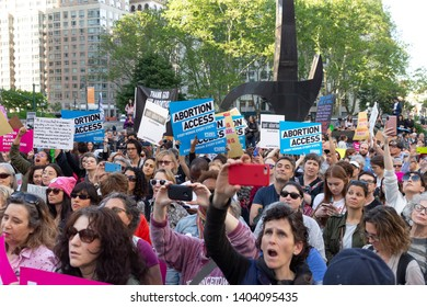 New York, NY - May 21, 2019: Hundreds of pro-choice demonstrators rally for women rights organized by Planned Parenthood on Foley Square