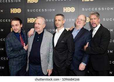 New York, NY - May 22, 2018: Kieran Culkin, Brian Cox, Jeremy Strong, Frank Rich, Alan Ruck attend HBO drama Succession premiere at Time Warner Center