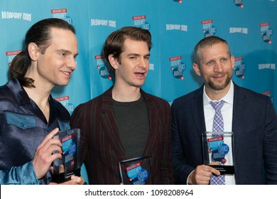 New York, NY - May 24, 2018: Jordan Roth, Andrew Garfield, Tim Levy attend Broadway.com Audience Choice Awards celebration at 48 Lounge