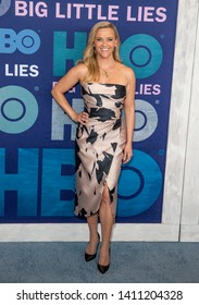 New York, NY - May 29, 2019: Reese Witherspoon wearing dress by Elie Saab attends HBO Big Little Lies Season 2 Premiere at Jazz at Lincoln Center