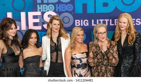 New York, NY - May 29, 2019: Shailene Woodley, Zoe Kravitz, Laura Dern, Reese Witherspoon, Meryl Streep, Nicole Kidman attend HBO Big Little Lies Season 2 Premiere at Jazz at Lincoln Center