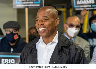 NEW YORK, NY – MAY 29: New York City mayoral candidate Eric Adams pushes 'recovery plan' for NYCHA residents during a press conference in Queens on May 29, 2021 in New York City.