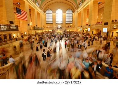 New York, NY - May 30, 2015: people commute during busy friday evening rush hour on May 30, 2015 at Grand Central terminal in New York City