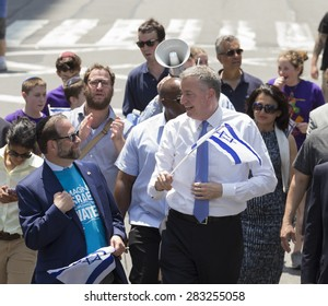 NEW YORK, NY - MAY 31, 2015: Mayor Bill de Blasio attends Celebrate Israel Parade on 5th avenue in Manhattan