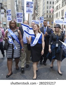 NEW YORK, NY - MAY 31, 2015: New York City Council speaker Melissa Mark-Viverito attends Celebrate Israel Parade on 5th avenue in Manhattan