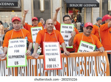 NEW YORK, NY - MAY 31, 2015: Members of LiUNA union protesting against mayor Bill de Blasio policy at Celebrate Israel Parade on 5th avenue in Manhattan