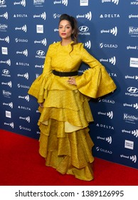 New York, NY - May 4, 2019: Lilly Singh wearing dress by Christian Siriano attends the 30th Annual GLAAD Media Awards at New York Hilton Midtown
