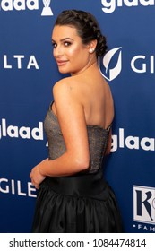New York, NY - May 5, 2018: Lea Michele wearing dress by Reem Acra attends the 29th Annual GLAAD Media Awards at Hilton Midtown