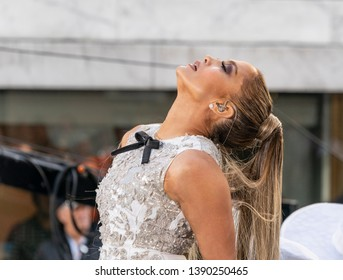 New York, NY - May 6, 2019: Jennifer Lopez performs on stage for NBC Today Show on TODAY Plaza at Rockefeller Center