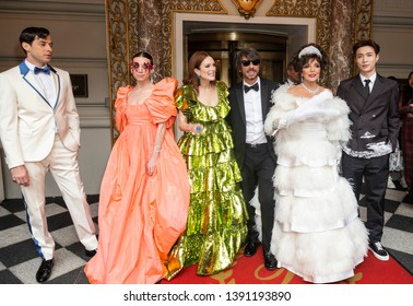 New York, NY - May 6, 2019: Mark Ronson, Lykke Li, Julianne Moore, Pierpaolo Piccioli, Joan Collins, Lay Zhang wearing gown by Valentino leave Pierre Hotel for Met Gala on theme Camp: Notes on Fashion